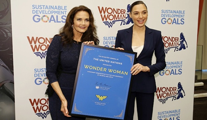 """Lynda Carter, Gal Gadot Reflect on 75 Years of Wonder Woman at the U.N."""